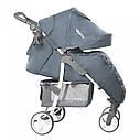 Детская прогулочная коляска с дождевиком серая, белая рама CARRELLO Quattro CRL-8502/2 Metal Gray , фото 2
