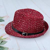 Шляпа челентанка  оптом с пайетками и ремешком, подросток  | р 52-54, фото 1