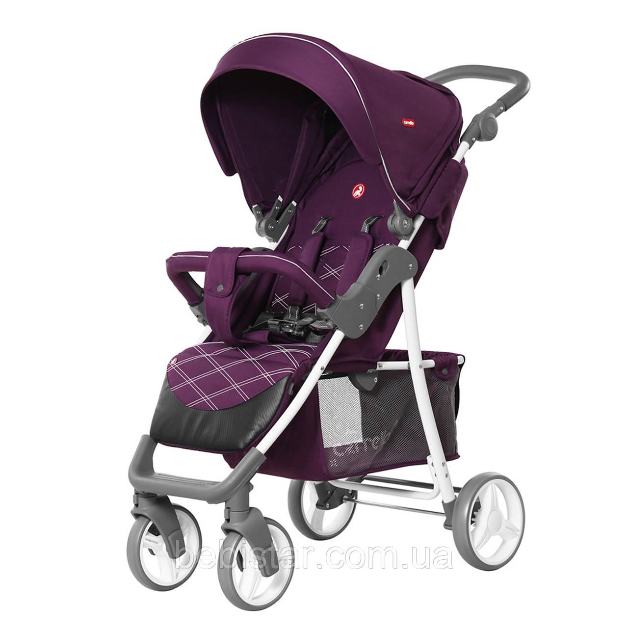 Детская прогулочная коляска с дождевиком фиолетовая, белая рама CARRELLO Quattro CRL-8502/2 Grape Purple