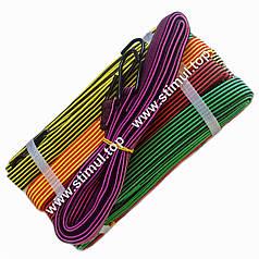 1 метр / 10 шт. в упаковке / Резинка багажная плоская с крючками / Трос стяжной / Ремінь для кріплення вантажу