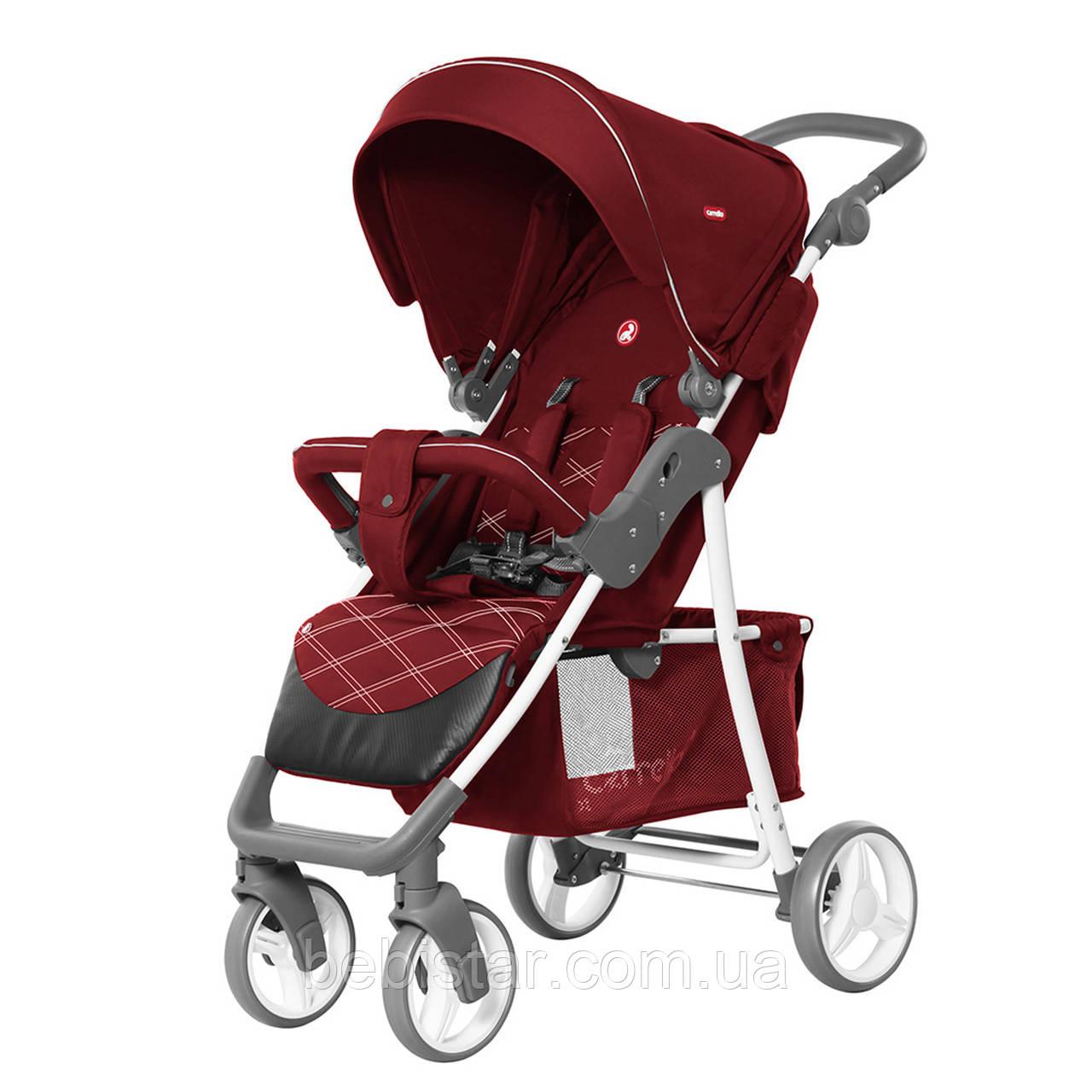 Детская прогулочная коляска с дождевиком красная, белая рама CARRELLO Quattro CRL-8502/2 Cherry Red