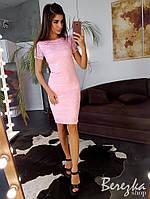 Кружевное, гипюровое платье футляр миди, фото 1
