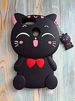 Резиновый объемный 3D чехол для Huawei P Smart Кошечка черная