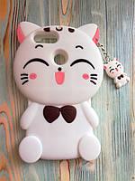 Резиновый объемный 3D чехол для Huawei P Smart Кошечка белая