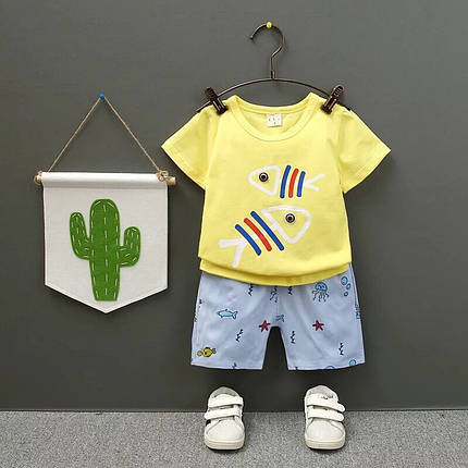 Летний костюм на мальчика  футболка+шорты 2 года желто-голубой  Рибки, фото 2