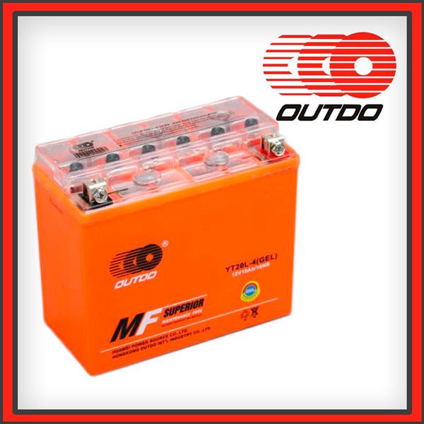 Гелевый мото аккумулятор OUTDO 18 Ah YT20-4 GEL