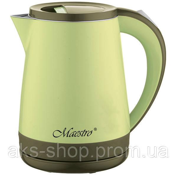 Электрочайник Maestro MR-037 зеленый (1.2 л, 1630 Вт, двойной корпус) | электрический чайник Маэстро, Маестро