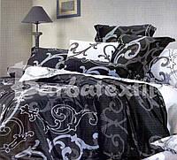 Темный полуторный набор постельного белья  с вензелями , фото 1