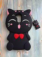 Резиновый объемный 3D чехол для Huawei honor 6A Котик черный