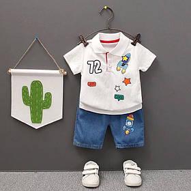 Летний костюм на мальчика  поло+шорты джинс  1 год Ракета