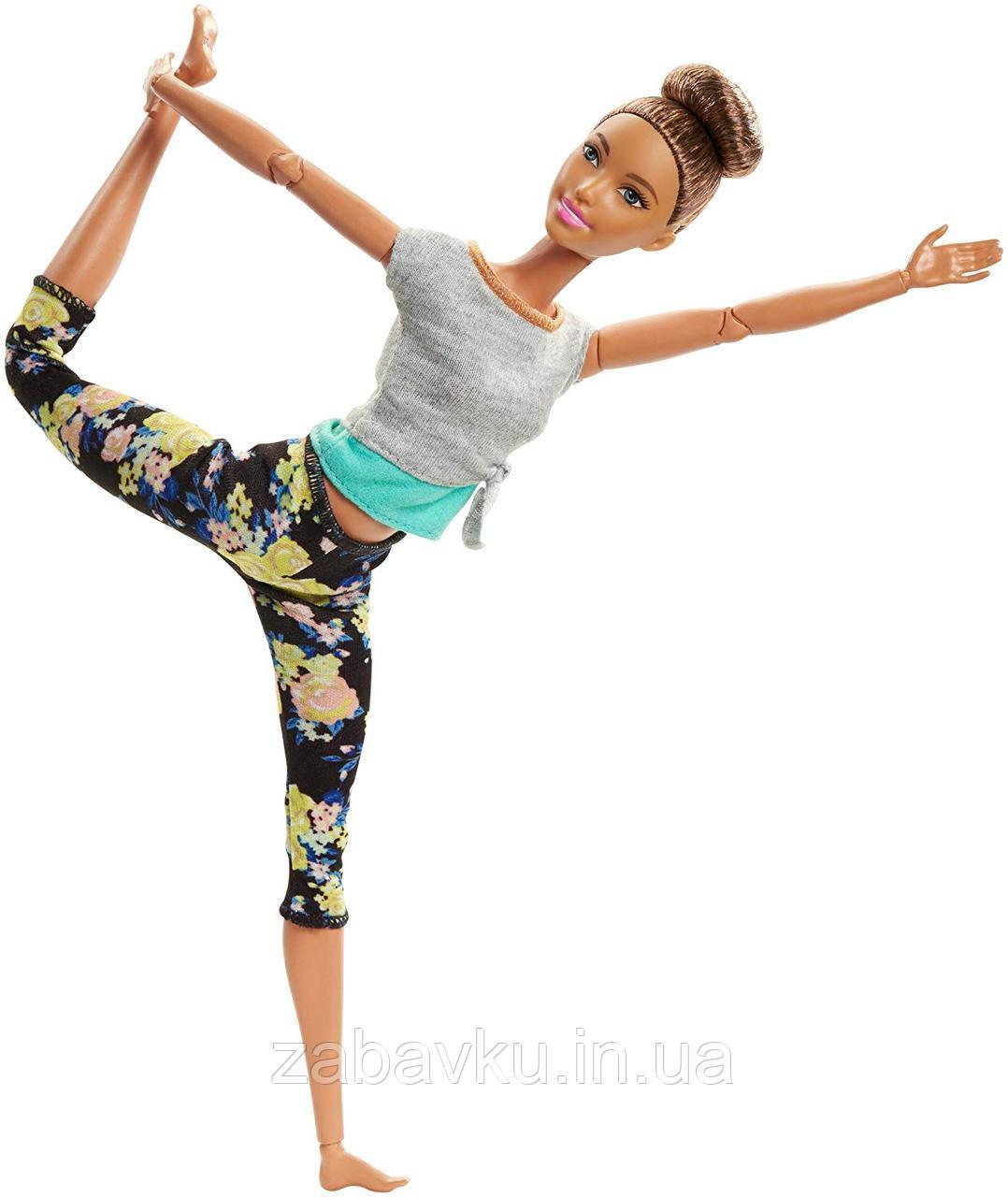 Барби йога безграничные движения шарнирная кукла Barbie Made To Move Doll Бабрі йога брюнетка