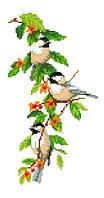 """Набор для вышивки на канве с нитками крестиком """"Птички"""". Размер 14х26 см."""