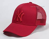 Летняя бейсболка с сеткой и вышивкой NY красная