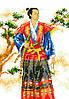 """Набор для вышивки на канве с нитками крестиком """"Самурай"""". Размер 18х25 см."""