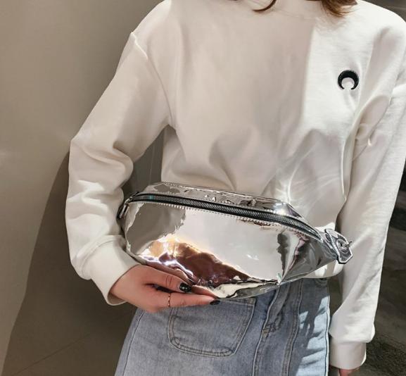 Голограммная серебристая поясная сумка, бананка
