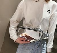 Голограммная серебристая поясная сумка, бананка, фото 1