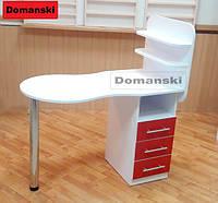Маникюрный стол бело - красный с ящиками столешница фигурная складывается.