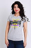 Модная футболка женская Gucci, размер L(46), XL(48) серого цвета