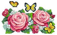 """Набор для вышивки на канве с нитками крестиком """"Бабочки в розах"""". Размер 22х15 см."""