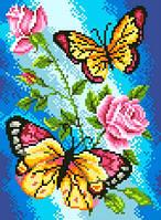 """Набор для вышивки на канве с нитками крестиком """"Бабочки и розы"""". Размер 17х23 см."""