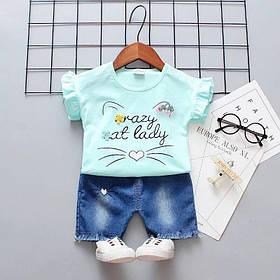 Стильный летний костюм  на девочку футболка +шорты джинс  1-4 года