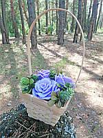 Мильні квіти KupuiDarui в декоративній корзині Фіолетові бегонії 400 г (000316)
