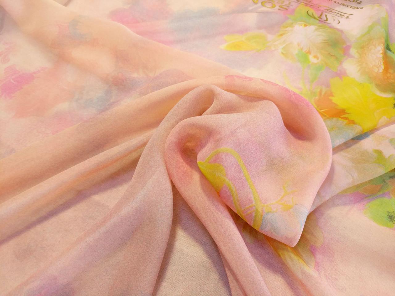Шифон купон цветочный, розовый