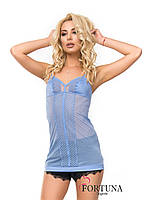 Ночная женская сорочка из сеточки и кружева голубого цвета.Италия