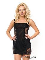 Ночная женская сорочка черного цвета из сеточки и кружева.Италия