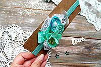 Повязка на голову для девочки ручной работы (размер к-ции 7-8 см, от 0 до 3 лет), фото 1