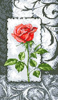 """Набор для вышивки на канве с нитками крестиком """"Роза"""". Размер 14х25 см."""
