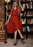 Яркое женское  платье  под пояс