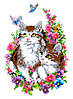 """Набор для вышивки на канве с нитками крестиком """"Котята в цветах"""". Размер 15х22 см."""