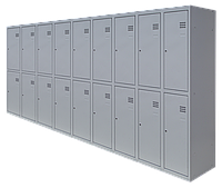 Шкаф для одежды на восемнадцать человек ШОМ (1800х3600х500) разборной (толщина 0,5 мм)
