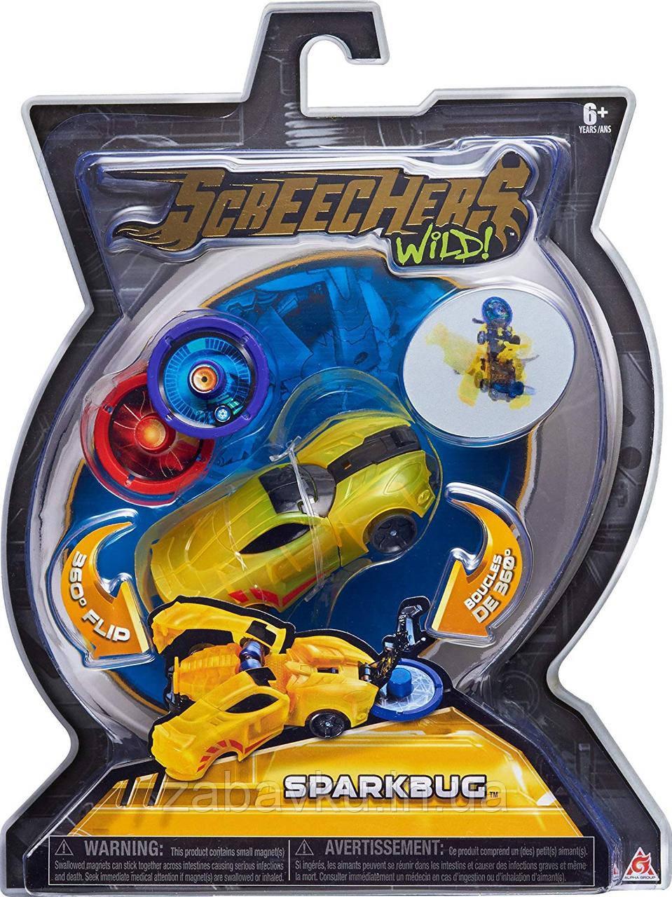 Дикі Скрічери машинка трансформер Спаркбаг Screechers Wild Sparkbug оригінал