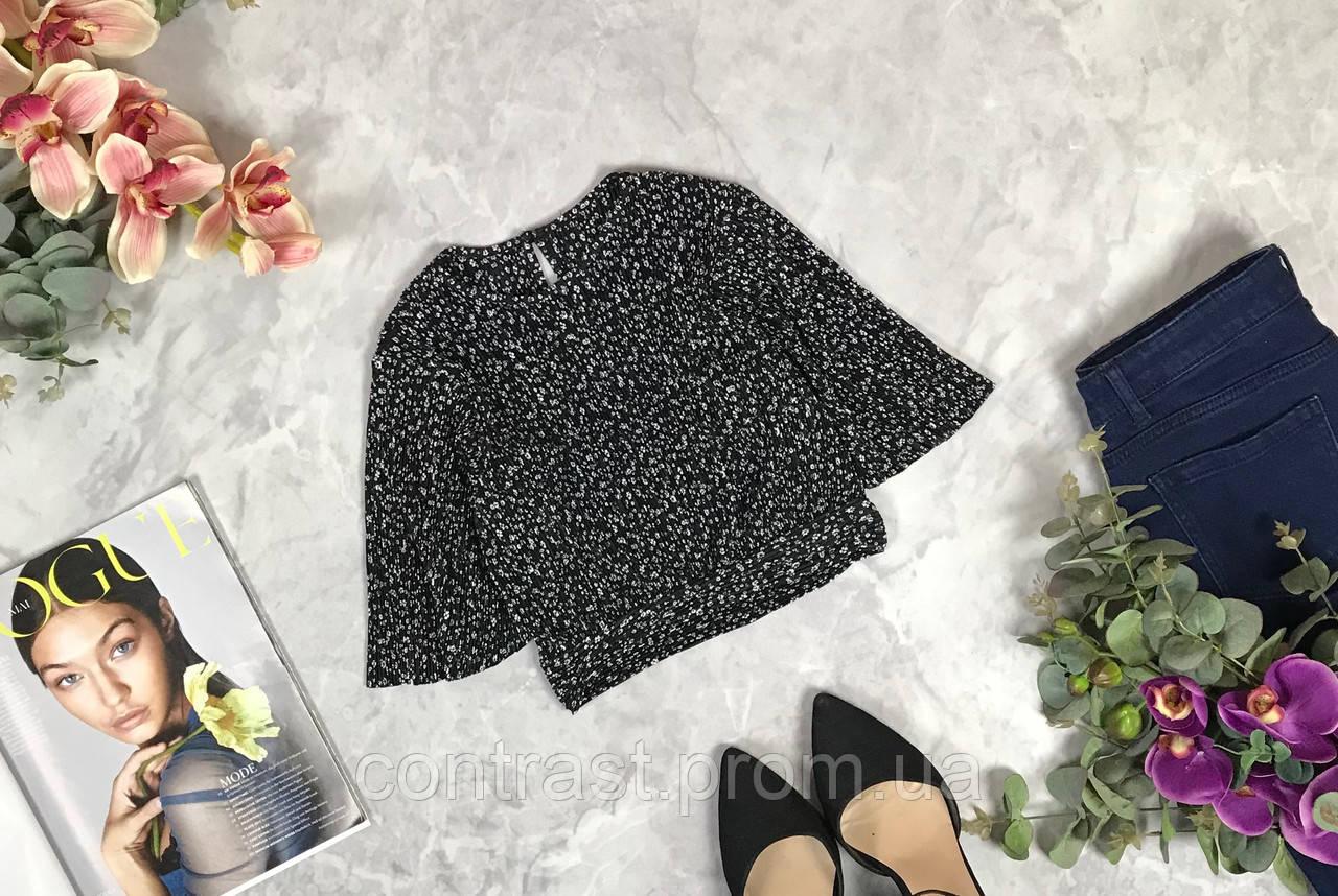 Укороченная блуза-плиссе в мелкий принт  BL1924078