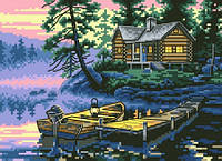 """Набор для вышивки на канве с нитками крестиком """"Утро в лесу"""". Размер 17х24 см."""