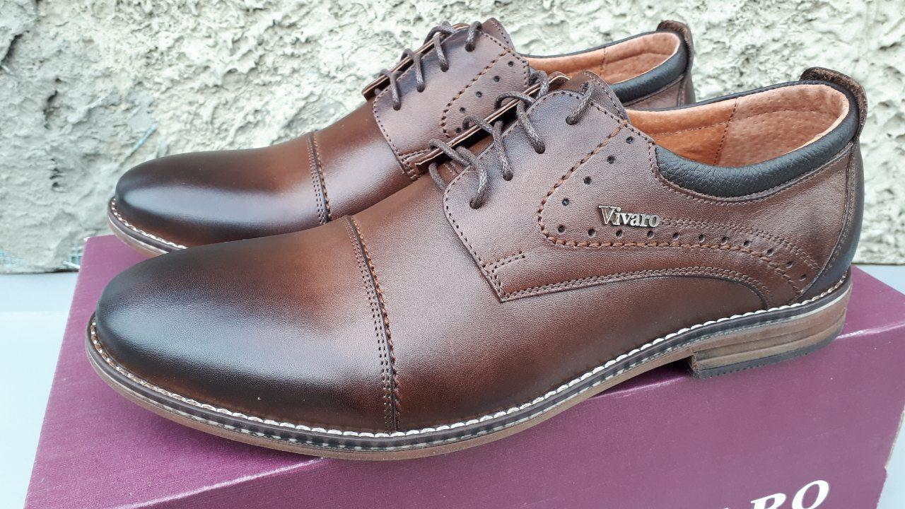 Мужские кожаные классические туфли Vivaro коричневые 40. 41. 42. 43. 44. 45