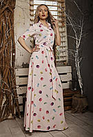 Летнее платье в пол с принтом