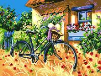 """Набор для вышивки на канве с нитками крестиком """"Велосипед во дворе"""". Размер 18х24 см."""