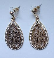 Вечерние cерьги в форме капли цвета черненного золота