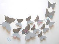 "Наклейка на стену ""12 шт. 3D бабочки наклейки"" Серый"