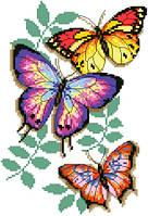 """Набор для вышивки на канве с нитками крестиком """"Бабочки"""". Размер 16х24 см."""