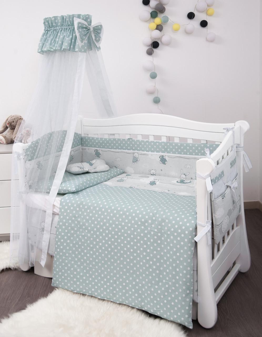 Детская постель Twins Premium Modern Зайчата 9 предметов (P-104 Зайчики mint)