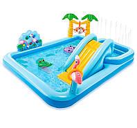 Надувной игровой центр бассейн Intex 57161 «Приключения джунглей» с горкой,надувные пальмы, фламинго