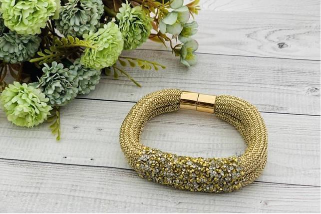 Браслет из ткани, двойной золотой с камнями, фото 2