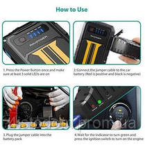 Внешний аккумулятор RavPower Car Jump Starter 8000mAh 300A Peak Current Quick Charge 3.0 Black/Yellow (RP-PB00, фото 3