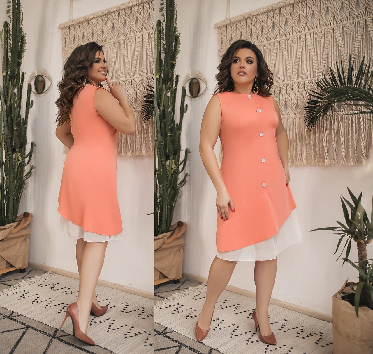 Женское летнее платье без рукавов большого размера.Размеры:48-58.+Цвета