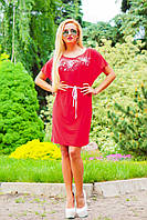 Женское свободное летнее платье с поясом Алое, фото 1