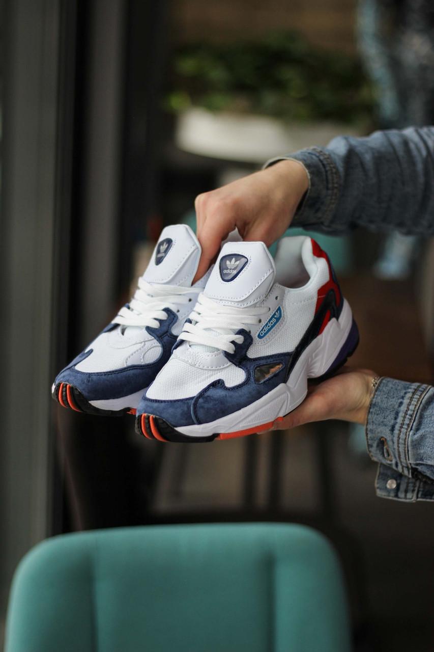 Женские кроссовки Adidas Falcon White/Blue/Red